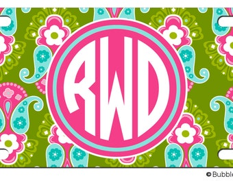 PERSONALIZED LICENSE Plate Paisley Floral Pattern Bright Multi Color custom Car Tag Name Any Color Monogram License plate