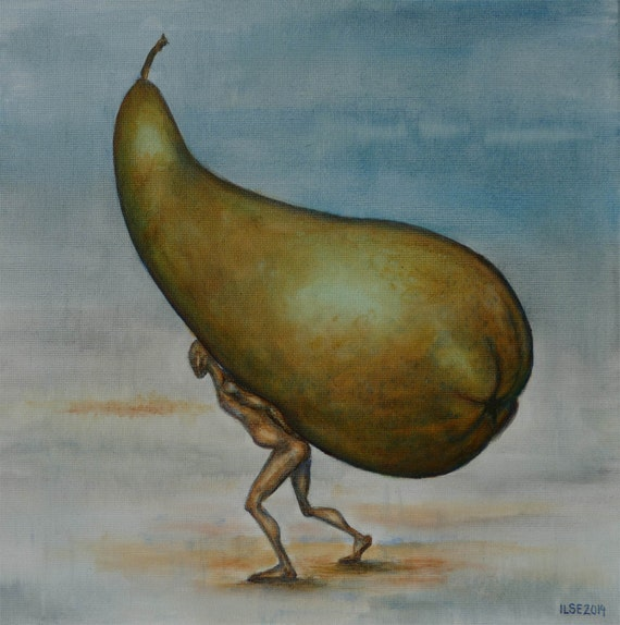 Green pear and human figure. Original small oil painting