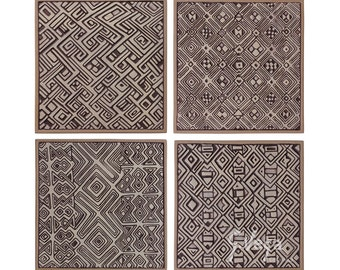 4 African wall hangings made from ceramic and glazed in creams, Ceramic tile, Wall Art, Wall sculpture, African Wall deco, 32.5cm