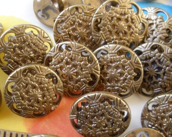 "Matte Antique Gold Filigree Plastic shank buttons 28L 17MM 11/16"" fancy flower 24 piece lots craft paper tag supply wedding embellish"