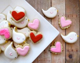 Lovebird and Heart Cookies - Mini (2 Dozen)