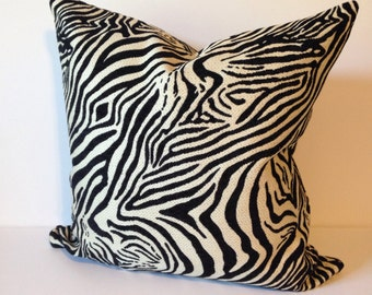Zebra Decorative Pillow Cover in Designer Upholstery Fabric Animal Print