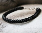 Thick handwoven leather choker in black with sterling silver clasp - Maria Helena Design