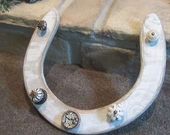 Wall Mount Horse Shoe Jewelry Holder Rustic Upcycled Organizer Reclaimed Wood Wall Decor