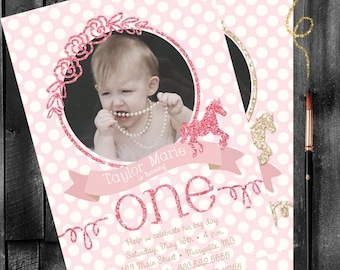 Glitter-Works First Birthday Invitation (DIGITAL FILE) PERSONALIZED