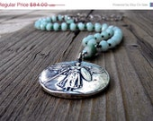 ON SALE Vintage Style Long Beaded Necklace, Antique WWI Relic Medal Reproduction, Faceted Amazonite, Raw Tourmaline, Long Boho Necklace