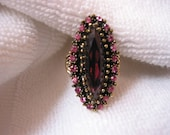HUGE long Vintage Cocktail Costume Ring in purple & hot pink