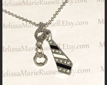 Handcuffs, rhinestone tie silver necklace, 50 shades of grey, christian grey, anna steel, laters baby, love, handmade jewelry