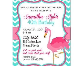 Pink Flamingo Invitation Printable or Printed with FREE SHIPPING - Birthday, Baby Shower, Pool Party, ANY Occasion