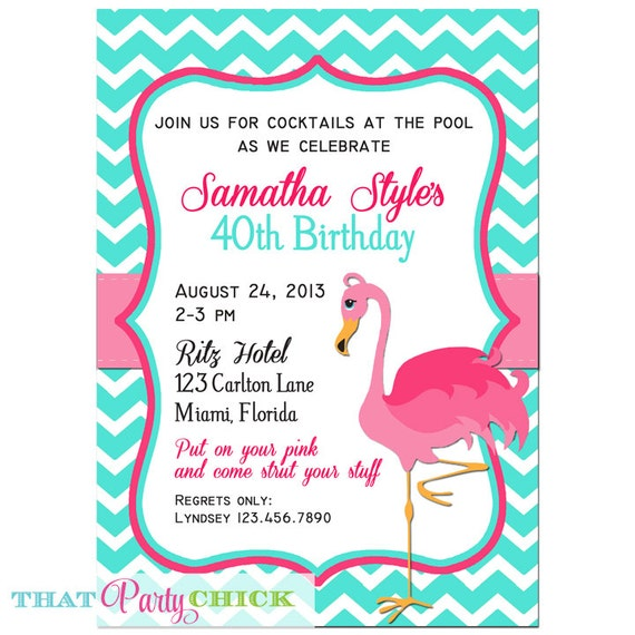 Pink Flamingo Invitation Printable Or Printed With Free