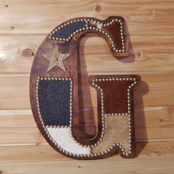 Custom cowhide wall letter g monogram wall decor by lizzyandme for Letter g wall decor