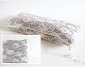 Lace Handbag, Wedding Clutch Wristlet, Gray Lace Clutch, Bridesmaid Set of 6, Unique Wedding Purses
