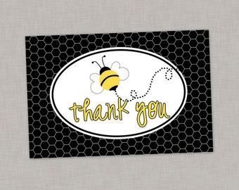 50% OFF Bee Thank You Card, Bumble Bee Thank You Card, Printable