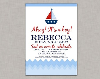 Nautical Baby Shower Invitation, Nautical Baby Shower, Boy, Printable