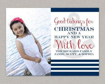 Nautical Christmas Card, Christmas Photo Card, Holiday Card, Printable