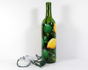 Hand Painted Wine Bottle Light with Lemons and Limes, Yellow and Green Kitchen Decor, Hostess Gift, Painted Lemon Lime Decor, Fruit Art