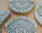 Mermaid sweetheart dove tattoo style stoneware focal tiles for mosaic or jewelry
