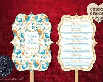 PRINTABLE Indian Wedding Ceremony Program Fan Pdf Hindu Saat Phere Wording Diy Order of Service Template Decor Peacock Lotus Elegant Cheap