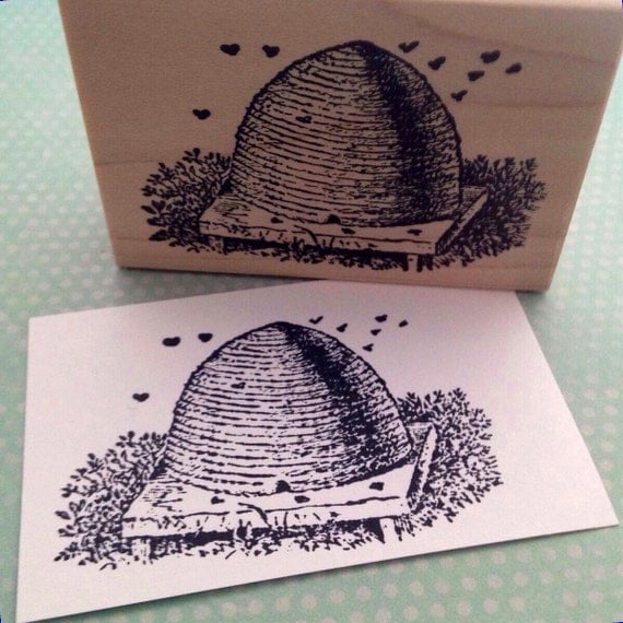 Bee Hive Wood Mounted Rubber Stamp 3898