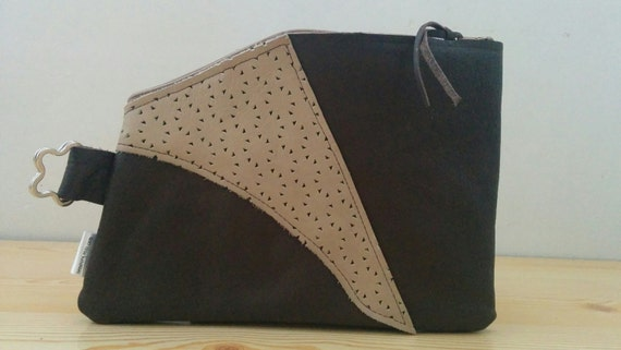 LEATHER clutch, Wristlet purse, handbag, brown clutch, Fretwork clutch,brown handbag, leather pouch, leather bag, leather travel bag
