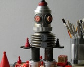 Recycled Art - R.E.D. - 3D Assemblage - Robot Art -  Mixed Media - Found Object Art by Jen Hardwick