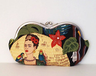 Frida Kahlo with Parrots, a sunglass case or small clutch, sunglasses case