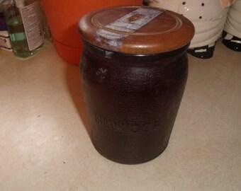 vintage smoking pipe tobacco amber glass jar holder humidor