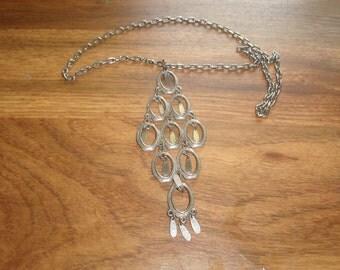 vintage necklace silvertone large pendant