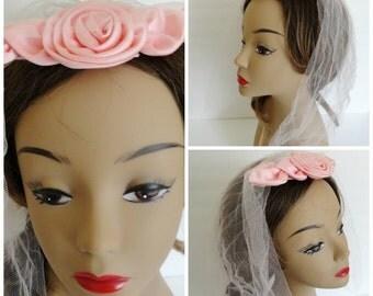 Pink Vintage Veil|Headpiece  Veil| Pink Wedding Veil| 50s Pink Bow Fascinator Hat Veil Headband
