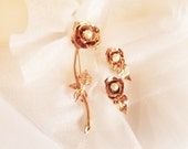 Vintage Signed Coro Bright Gold Tone Rose Brooch & Matching Clip on Earrings