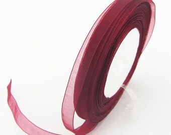"Burgundy Organza Ribbon-3/8""-Marsala Wine"