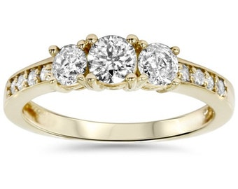 1.00CT 3 Stone Diamond Engagement Ring 14K Yellow Gold - Size 4-9