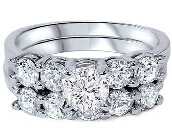 2.55 cttw Round Diamond Engagement Ring Matching Wedding Band Five Stone Bridal Set 14K White Gold