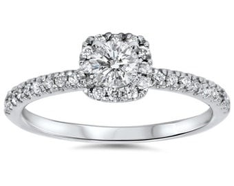 Diamond Cushion Halo Engagement Ring .50 Carat Cushion Halo Engagement Ring 14K White Gold