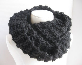 Black wool Outlander cowl hand knitted