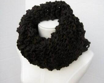 Brown black wool Outlander cowl hand knitted