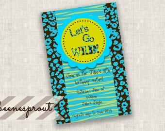 Let's Go Wild Animal Print Birthday Invitation