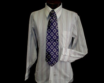 "70s 15 1/2"" Cerruti Silk Tie Torque Manhattan Big Collar Men's Disco Shirt White Gray Apricot Royal Blue"