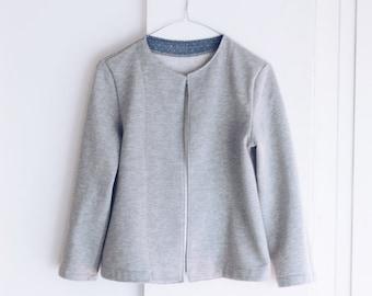 Women organic fleece jacket. Cardigan sweatshirt, everyday wear minimal design. Sizes S to XL. Made to order.