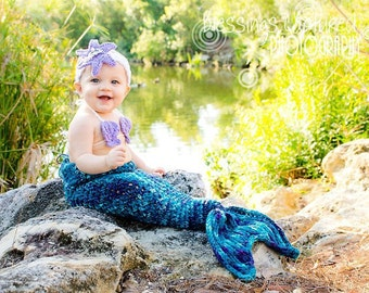 Set of 3 Crochet Patterns for Mermaid Tail, Headband, and Shell Bikini Top Photography Props - Welcome to sell finished items