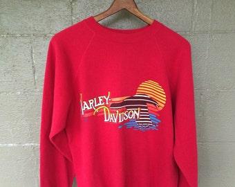 Vintage Red Harley Davidson Sweatshirt - SMALL
