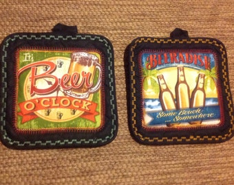 Beer Potholders - Beer Lovers -Beer Quotes - Humorous Gift Idea - Free US shipping