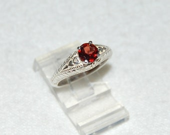 Garnet Ring, Size 7.5, Cabernet Red, Sterling Silver, January Birthstone, Garnet Solitaire, Natural Garnet, Red Garnet Ring
