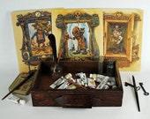 Fantasy poster set art prints steampunk Victorian fairy tale group witch Frankenstein goblin