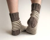 Striped 100% Natural Organic Socks - Hand Knitted from Undyed Wool Yarn - Winter Clothing