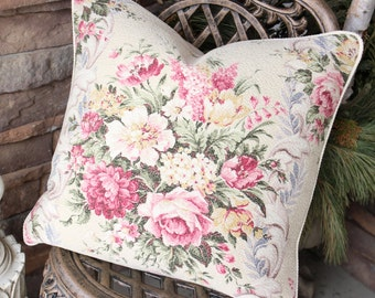 Wonderful Rare English Cabbage Rose Floral Printed Nubby Vintage Barkcloth Fabric Decorative Throw Pillow