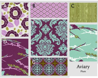 Custom Baby Crib Bedding- Design Your Own- Aviary 2 in Plum