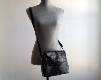 Vintage Bally Black Leather Crossbody Purse in Faux Croc