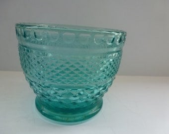 Vintage Colored Glass Pot Planter or Bowl Aqua Blue Colored Glass Vintage Colored Glass