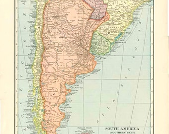 SOUTH AMERICA SOUTH,  Antique Map  Nelson's Encyclopedia 1910